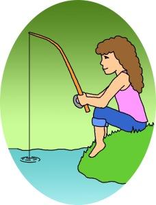 woman fishing