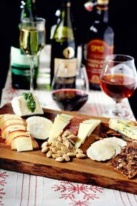 wine and food tray