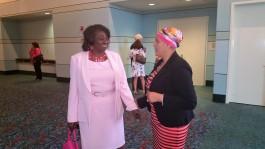 Greeting Irene Soriano, breast cancer survivor