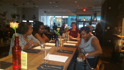 Getting ready to enjoy a great meal at Cafe Momentum